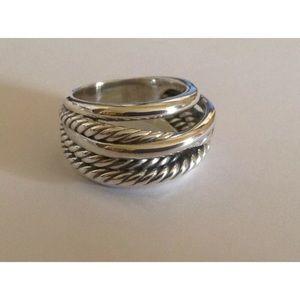 David Y Wide Crossover Ring Sz 8